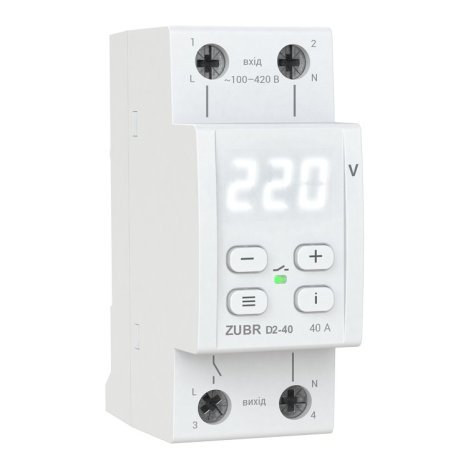 Реле контроля напряжения DS Electronics ZUBR D2-40A с термозащитой