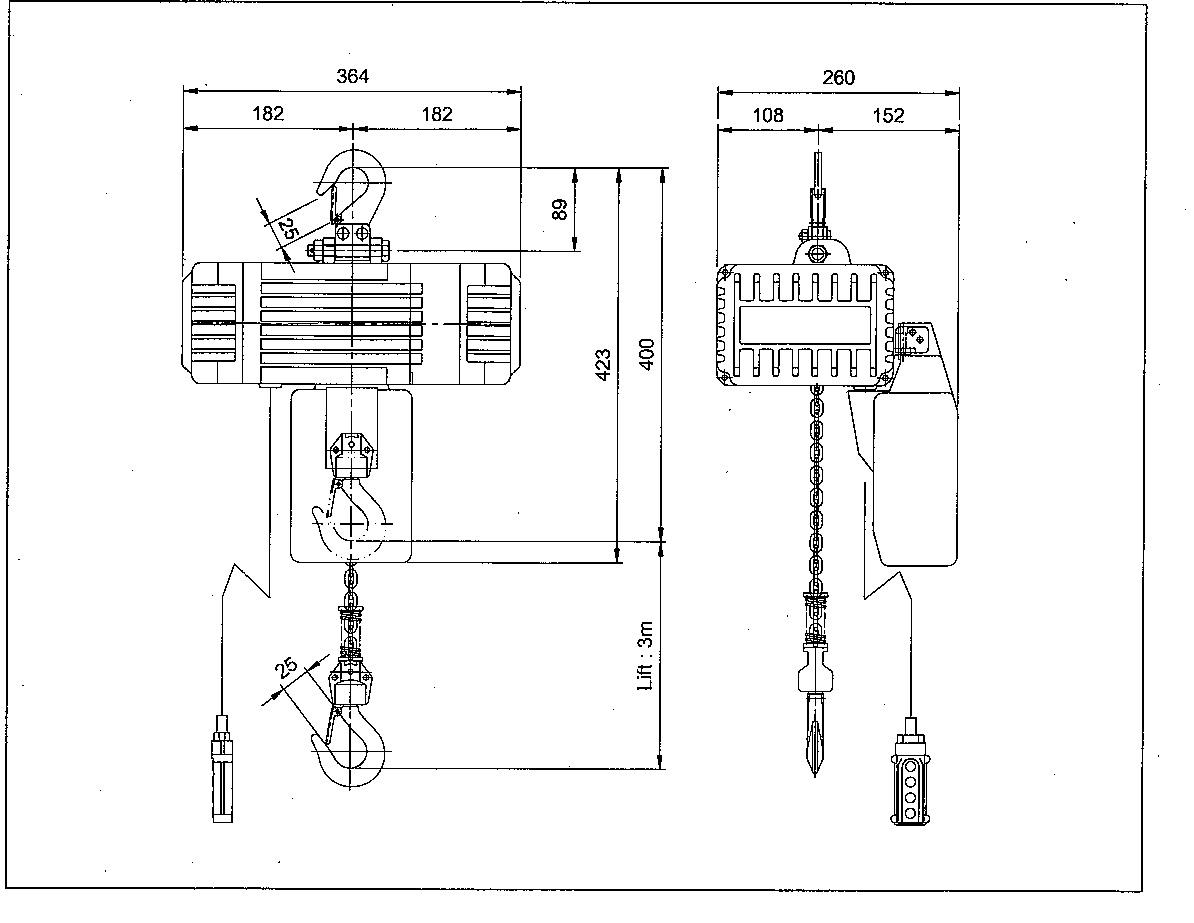 Masterlift Blfd Electric Chain Hoist 240kg 6m Hol 110v Ml Blfd 240 6m H
