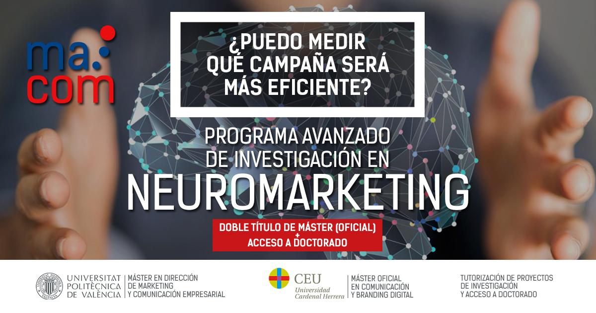 MaCom UPV y el máster en Comunicación Digital del CEU se unen en el Programa Avanzado de Investigación de Neuromarketing