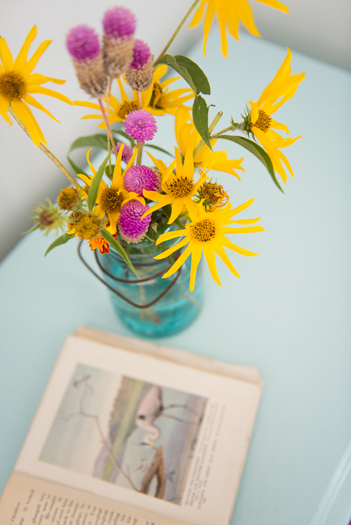Nothing says summer in the country like sunflowers in a homemade arrangement!
