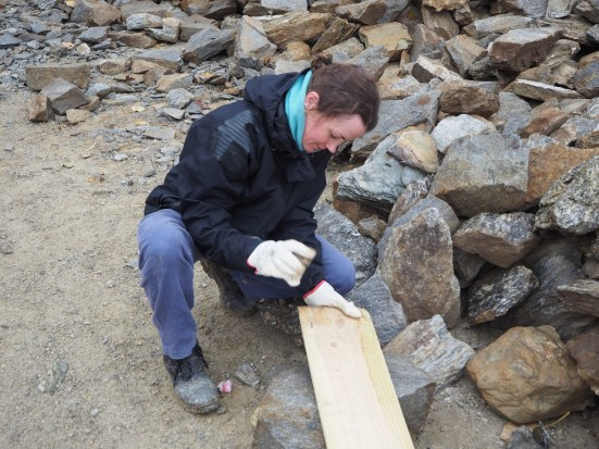 Hammering nails out of wood to be reused. With a rock.