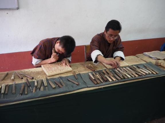 Carving at the Art & Craft School in Thimphu