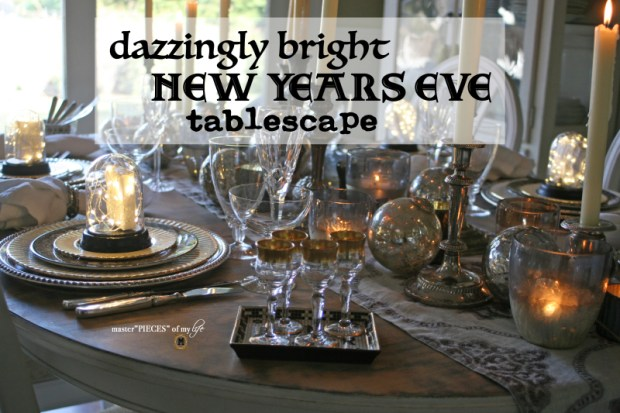 Dazzingly bright new years eve tablescape