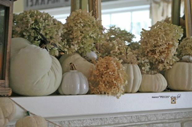 White pumpkin mantel 3
