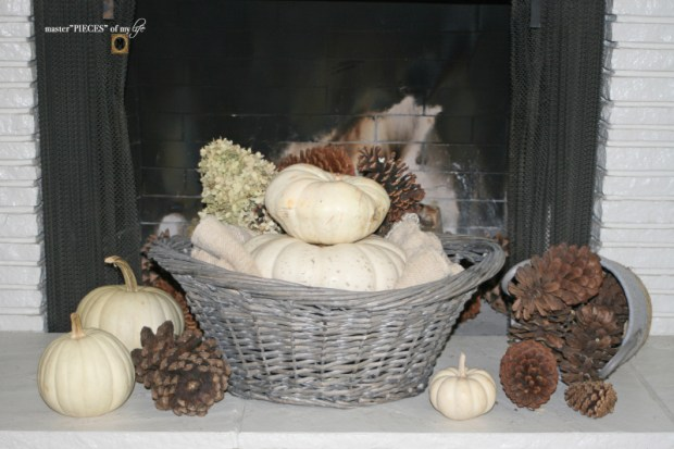 White pumpkin mantel 6