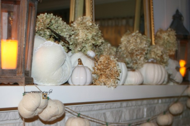 White pumpkin mantel 9