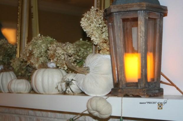 White pumpkin mantel 10