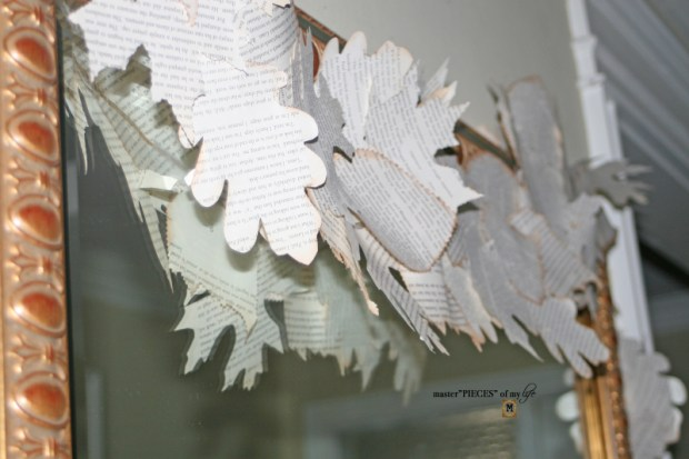 Bookprint leaf garland 10