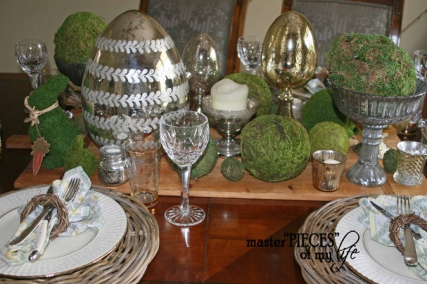 Mercury glass moss easter tablescape2