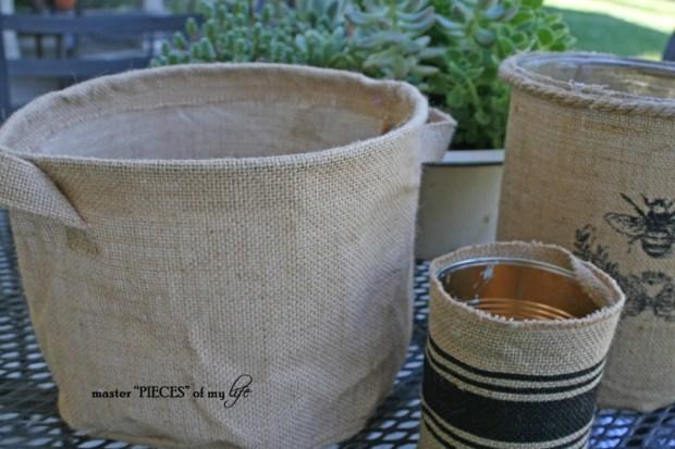 Burlap container gardening 4