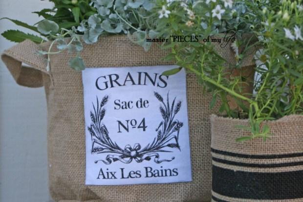 Burlap container gardening 7