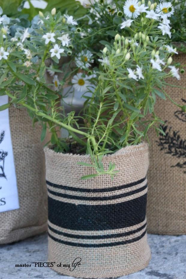 Burlap container gardening 8