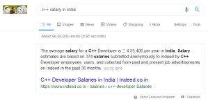 C++ salary in india