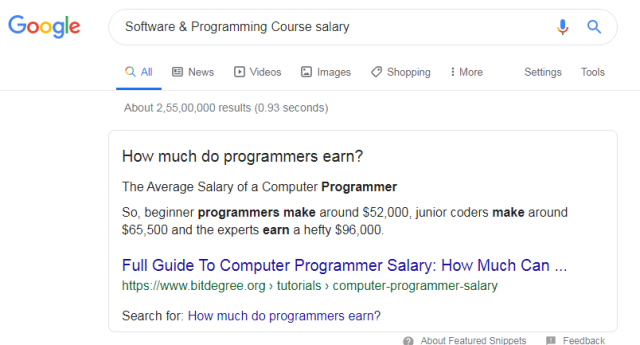 Software & Programming Course salary