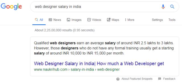 web desinger salary