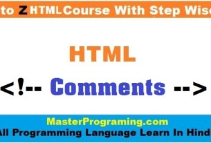 HTML Comments - HTML Comments In Hindi