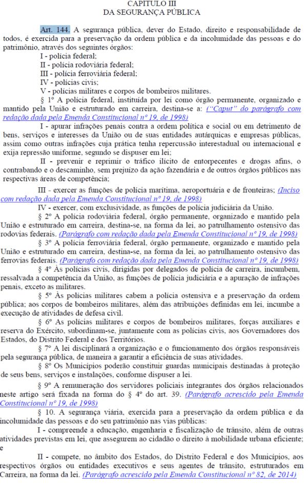 art 144 da constituicao federal usado como exemplo para elaborar mapas mentais