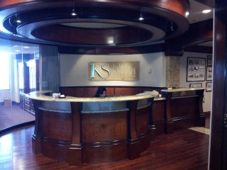 Cherry and Granite Reception Desk