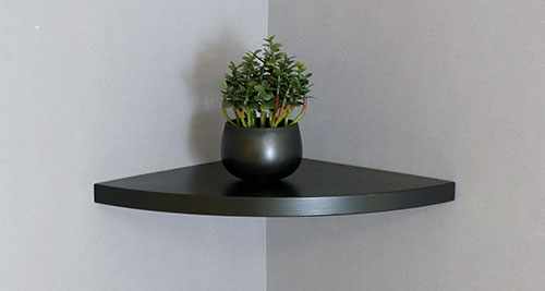 Corner Floating Shelf 300x300x22mm Black