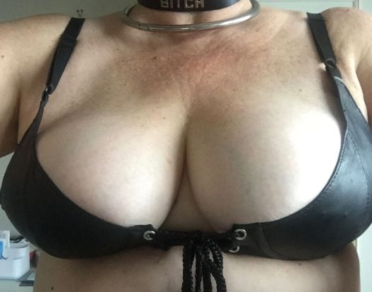 Me bursting out of a leather bra.