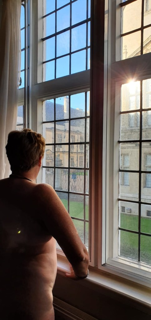 I am standing naked looking out of the window at the back of the Oxford examination school. The sky is blue and the sun reflects on some of the small window panes. I am facing out, so you can see my back and part of my bottom.