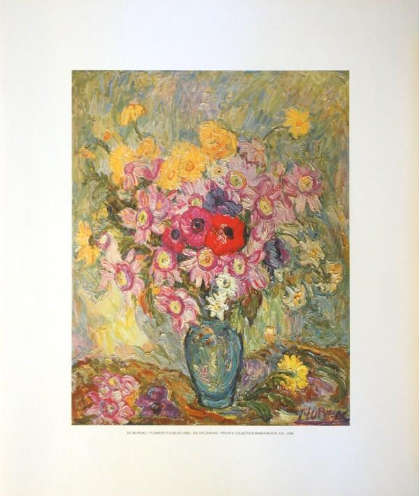 DE MORNAC - FLOWERS IN A BLUE VASE (LITHOGRAPH)