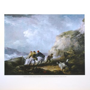 G MORLAND - FISHERMAN TAKING OUT THEIR BOAT (LITHOGRAPH)
