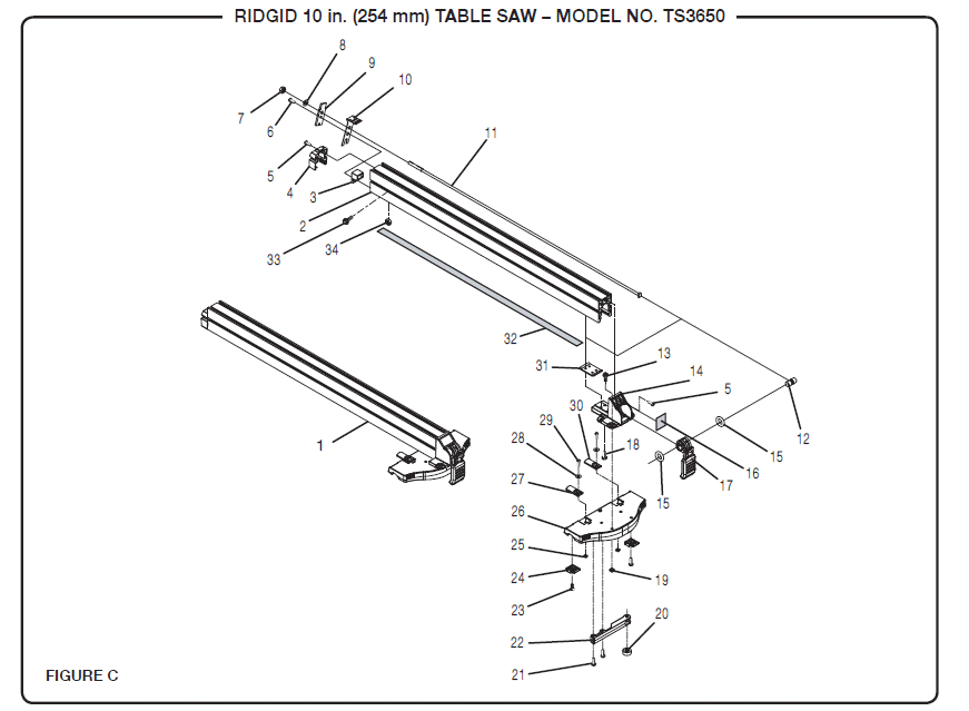 Ridgid Table Saw Replacement Parts