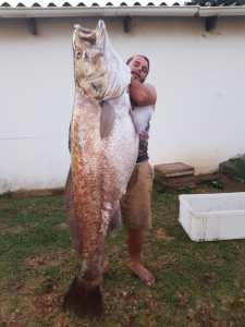 Anthony Dede with a slab Daga salmon 42kg shore dive North