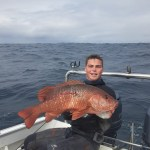 wahoo south: Fritz with a decent Rock salmon boat dive South