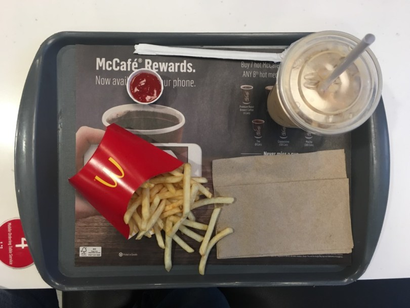McDonald's French Fries and Iced Coffee