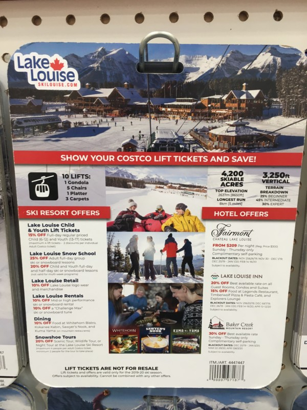 Lake Louise Costco Discount Card Info