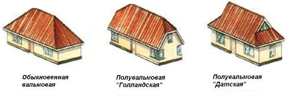 Виды конструкций вальмовых крыш