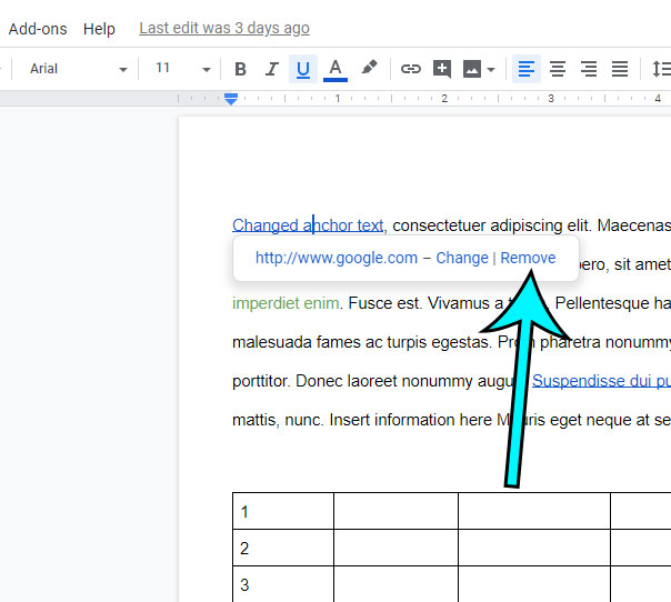 how to remove a hyperlink in google docs