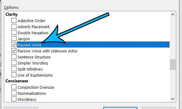 how to check for passive voice in Microsoft Word