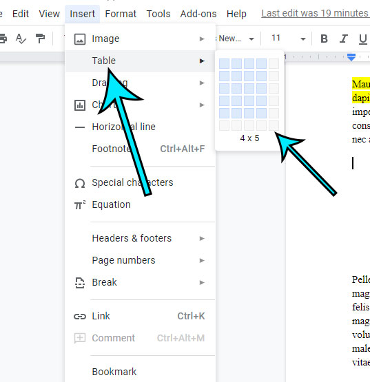 how to make tables in Google Docs