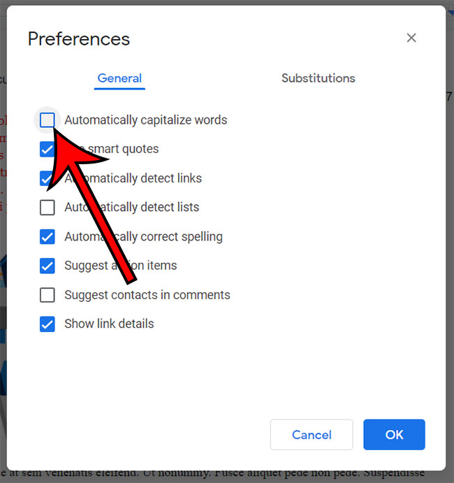 how to stop automatic capitalization in Google Docs