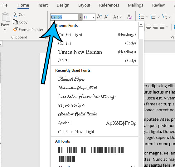 how to change the font for a whole document in Word for Office 365