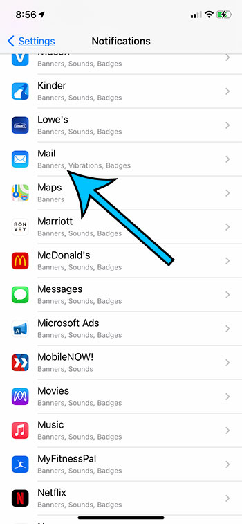 select the Mail app