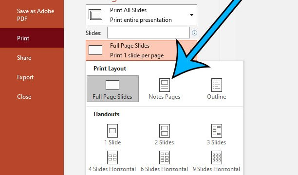 how to print speaker notes in Microsoft Powerpoint