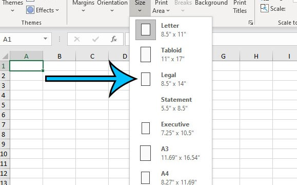 how to use legal paper in Excel