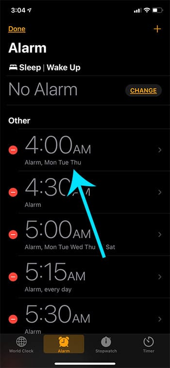 choose the alarm to change