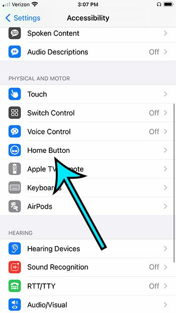 open the Home button menu