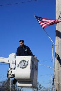 American flag installation on Montauk Hwy - 04