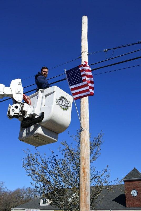 American flag installation on Montauk Hwy - 07