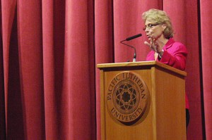 Former Governor Christine Gregoire came to speak at Pacific Lutheran University this past Earth Day, Tuesday. Gregoire's speech primarily focused on the enviornment in Puget Sound and emphasized Puget Sound's importance in the Pacific Northwest identity. Photo by Emily Jacka.