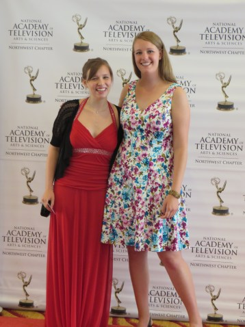 Juniors Camille Adams and Rachel Diebel at the 2014 National Academy of Television Arts & Sciences Northwest College Awards for Excellence ceremony. Photo Courtesy of Camille Adams