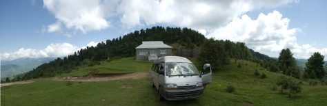 Panorama of the rest house near Toli Pir