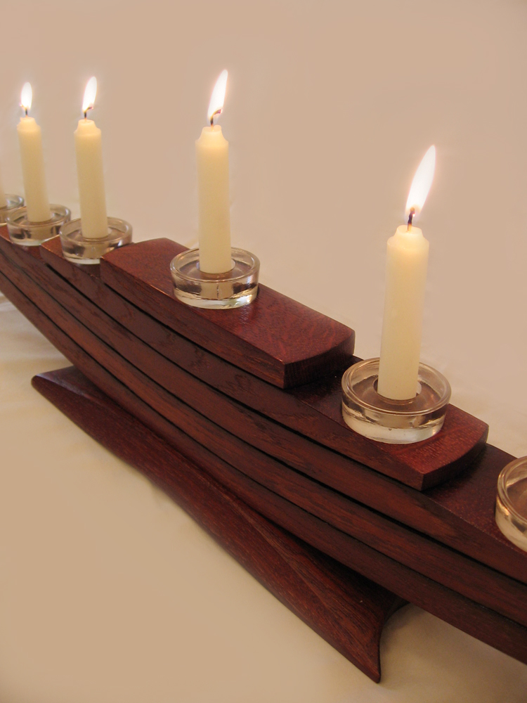 Il Veliero Eco Menorah Recycled Oak Wine Barrel Staves