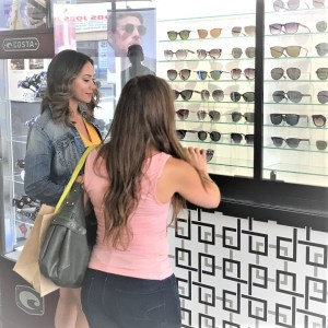 Models trying on sunglasses for a Condo commercial